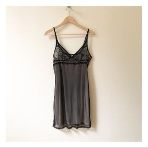 🆕 ELLE MACPHERSON black nude lace nightgown slip